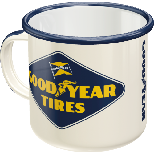 Emaille-Becher Goodyear - Logo White
