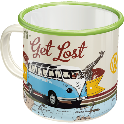 Emaille-Becher VW Bulli - Let's Get Lost